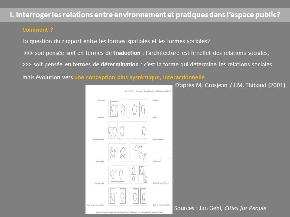 I. Interroger les relations entre environnement et pratiques dans l'espace public