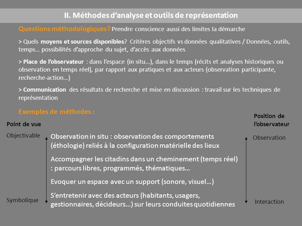 II. Méthodes d'analyse et outils de représentation