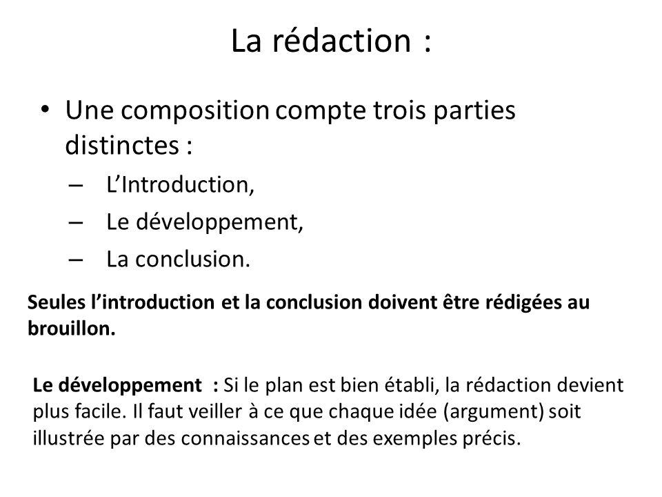La rédaction : Une composition compte trois parties distinctes :