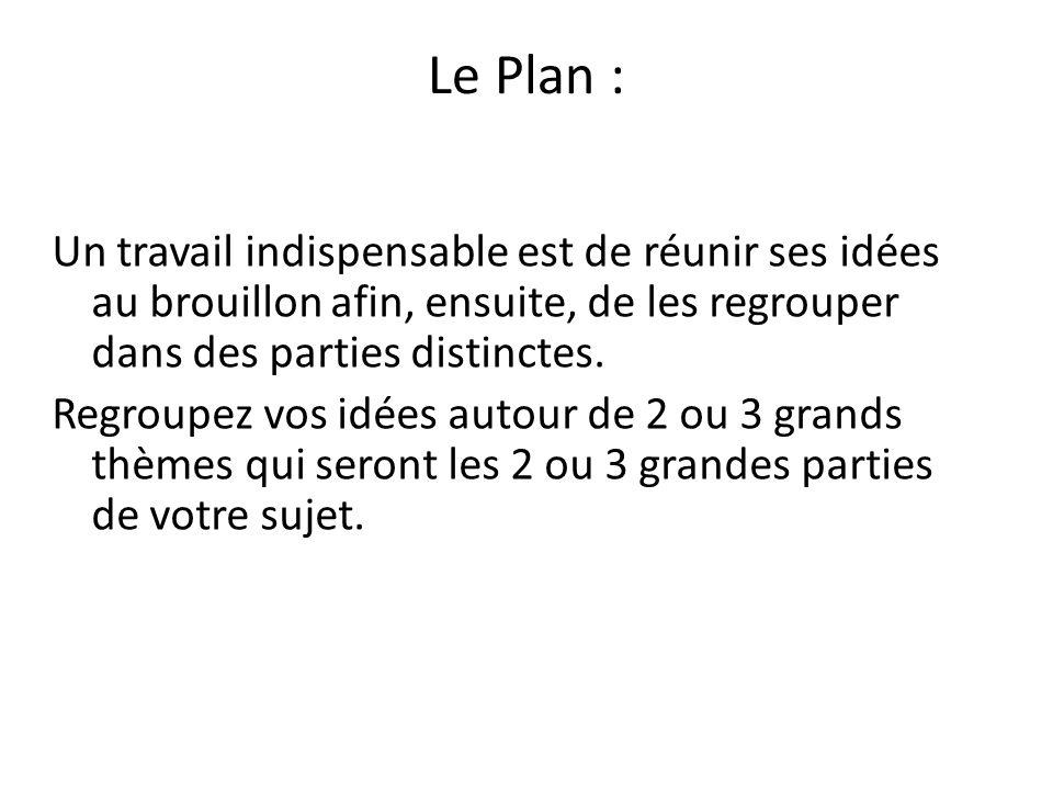 Le Plan :