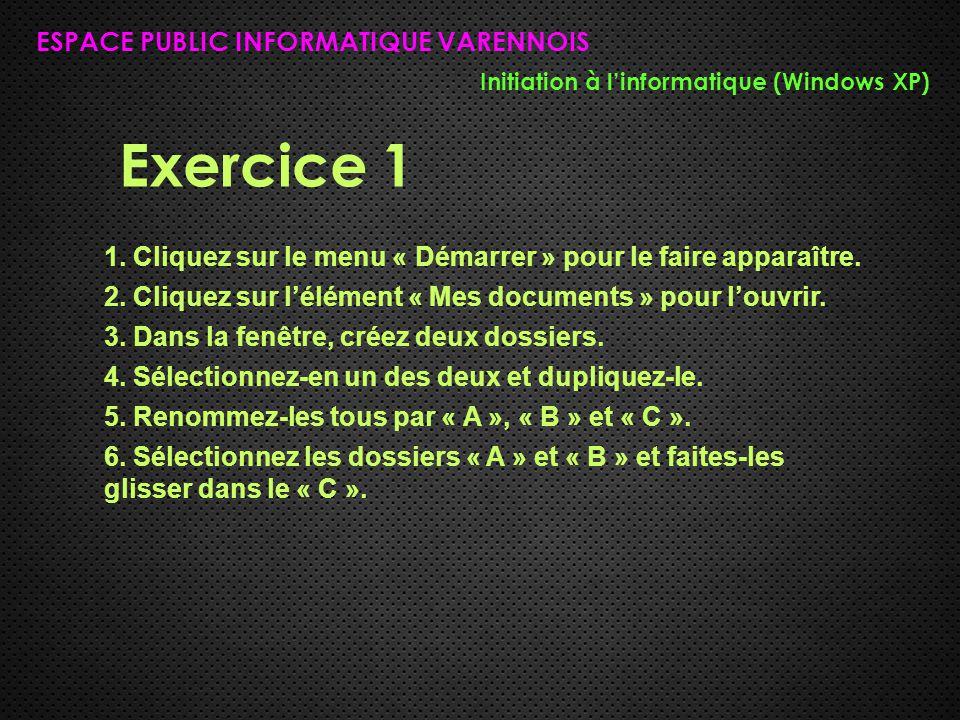 Exercice 1 ESPACE PUBLIC INFORMATIQUE VARENNOIS