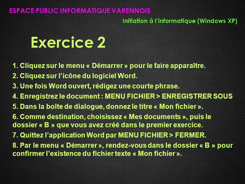 Exercice 2 ESPACE PUBLIC INFORMATIQUE VARENNOIS