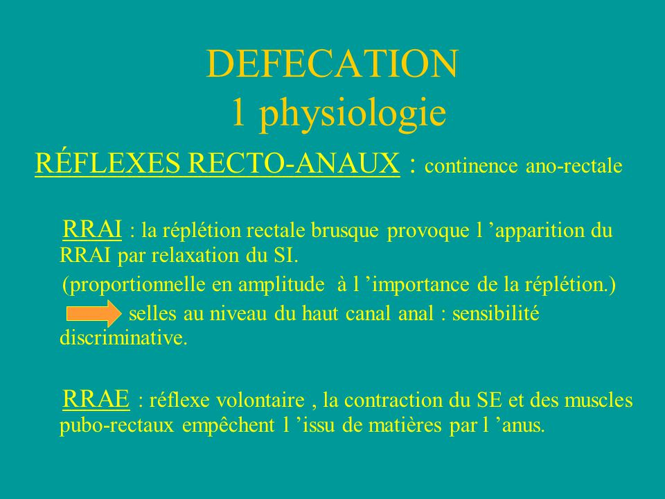 DEFECATION 1 physiologie