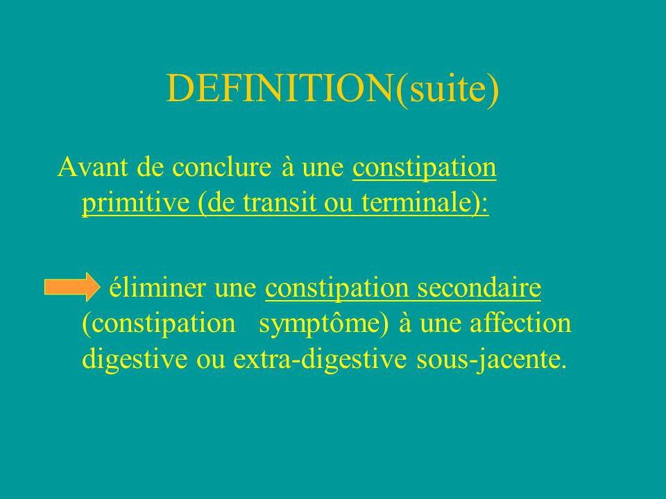 DEFINITION(suite) Avant de conclure à une constipation primitive (de transit ou terminale):