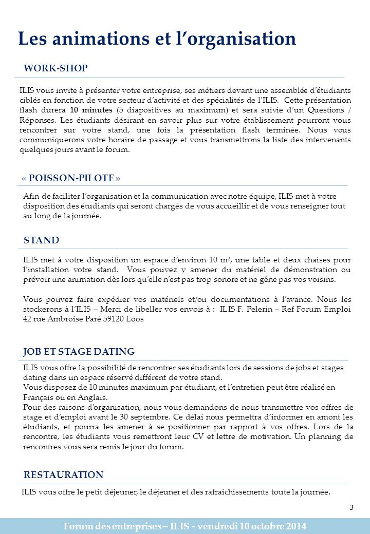 Forum des entreprises – ILIS - vendredi 10 octobre 2014