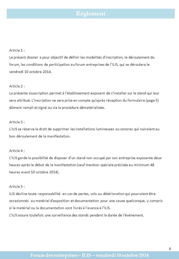 Forum des entreprises – ILIS – vendredi 10 octobre 2014