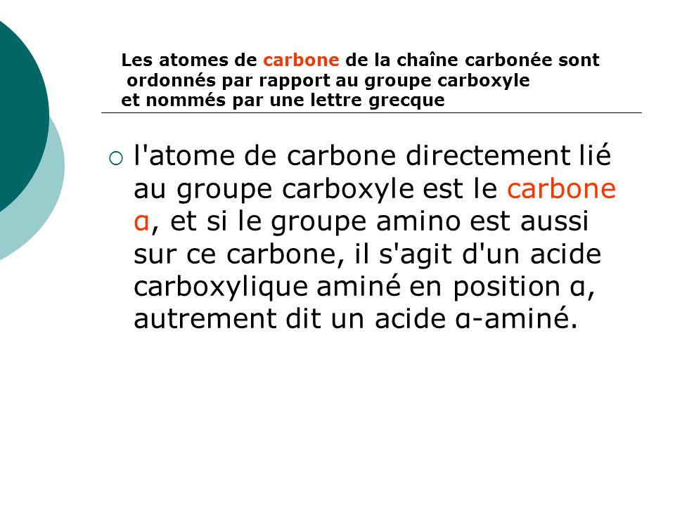 Les atomes de carbone de la chaîne carbonée sont