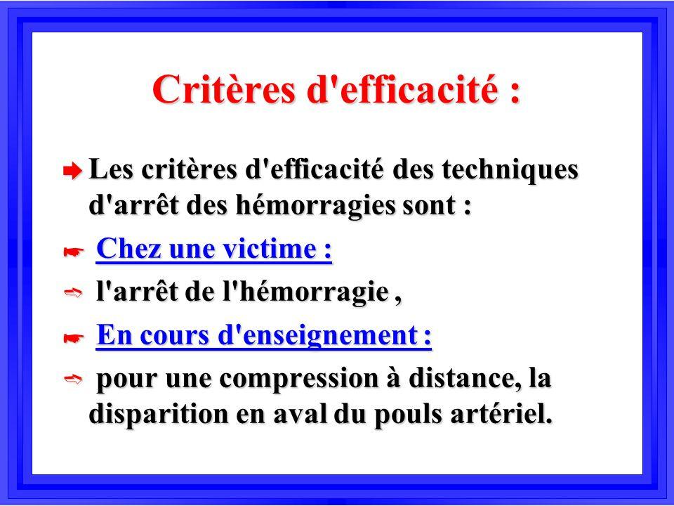 Critères d efficacité :