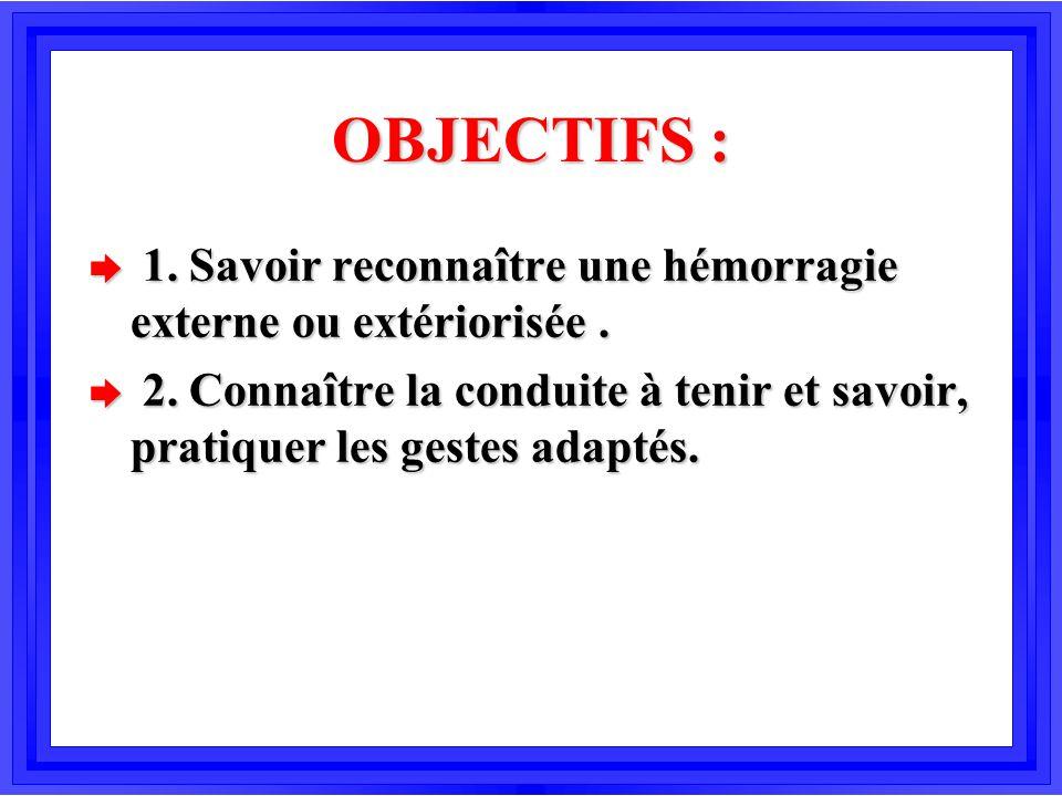 OBJECTIFS : 1. Savoir reconnaître une hémorragie externe ou extériorisée .
