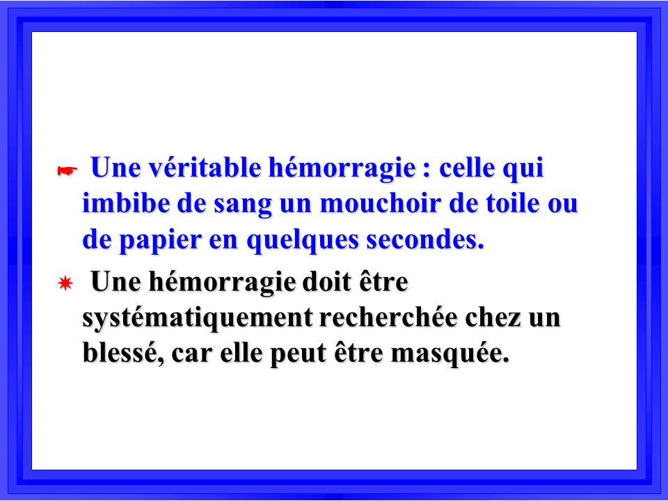 Une véritable hémorragie : celle qui imbibe de sang un mouchoir de toile ou de papier en quelques secondes.