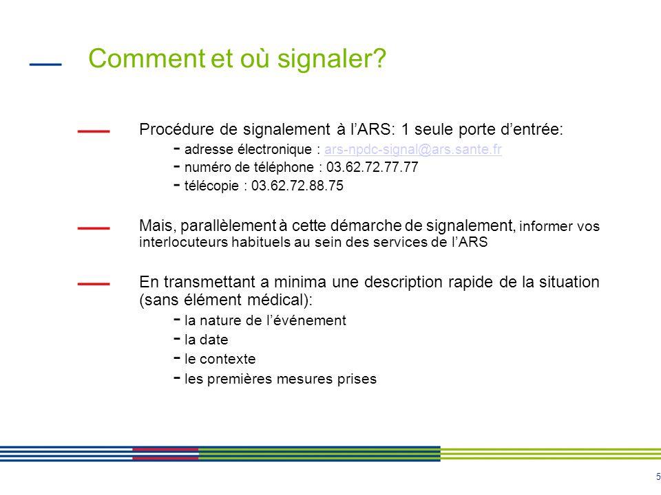 Comment et où signaler Procédure de signalement à l'ARS: 1 seule porte d'entrée: adresse électronique : ars-npdc-signal@ars.sante.fr.