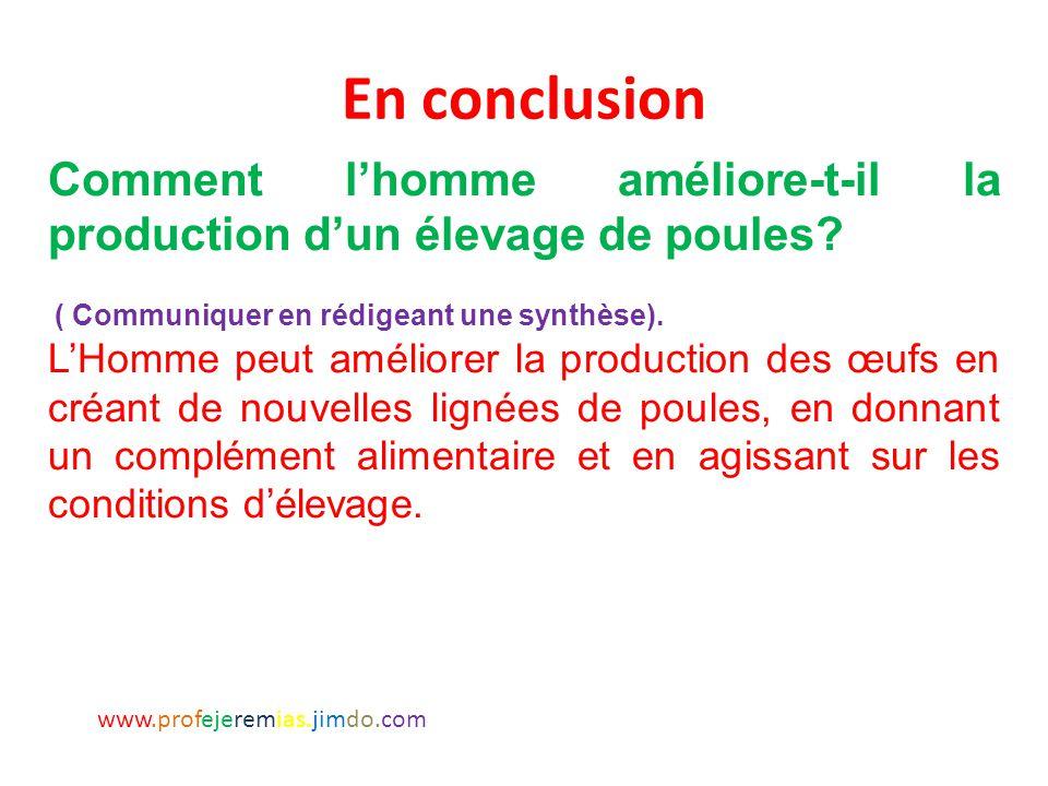 En conclusion Comment l'homme améliore-t-il la production d'un élevage de poules ( Communiquer en rédigeant une synthèse).