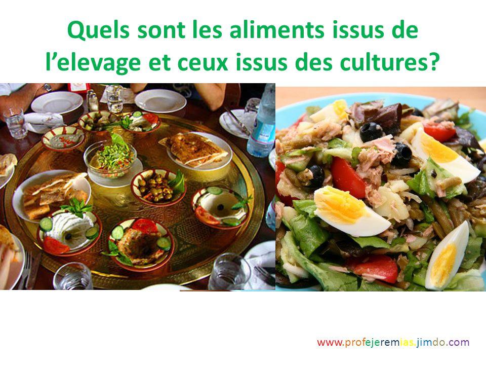 Quels sont les aliments issus de l'elevage et ceux issus des cultures