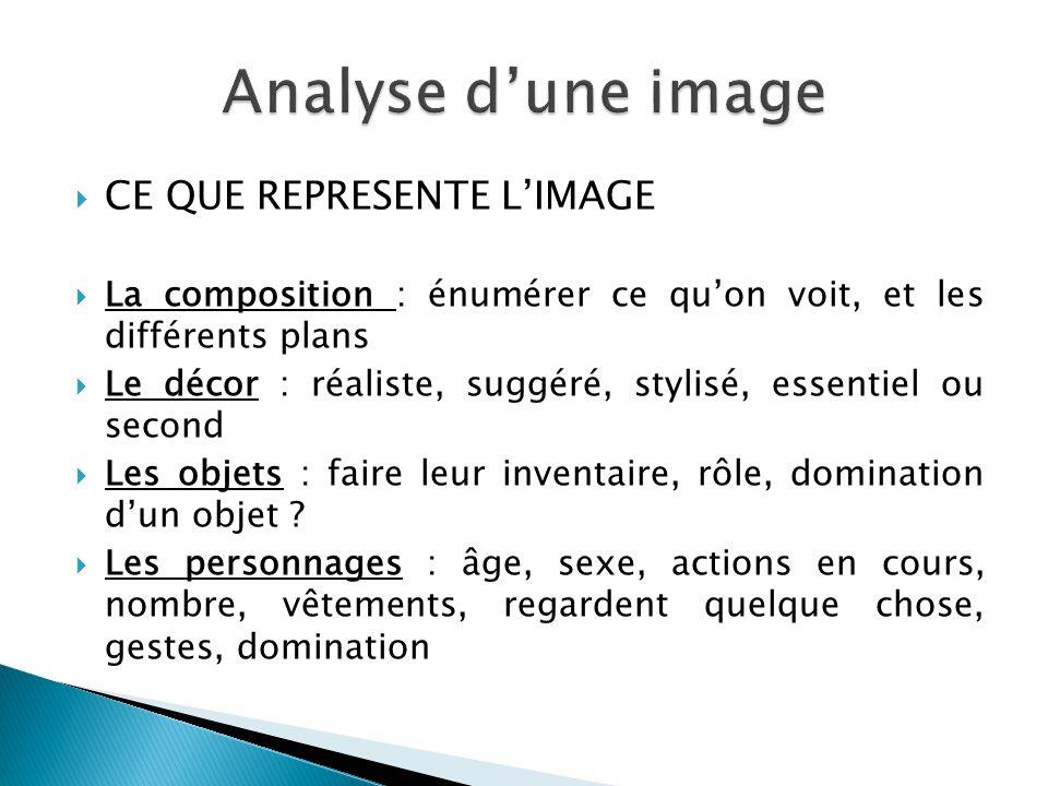 Analyse d'une image CE QUE REPRESENTE L'IMAGE