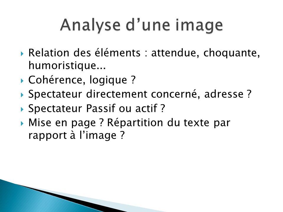 Analyse d'une image Relation des éléments : attendue, choquante, humoristique... Cohérence, logique