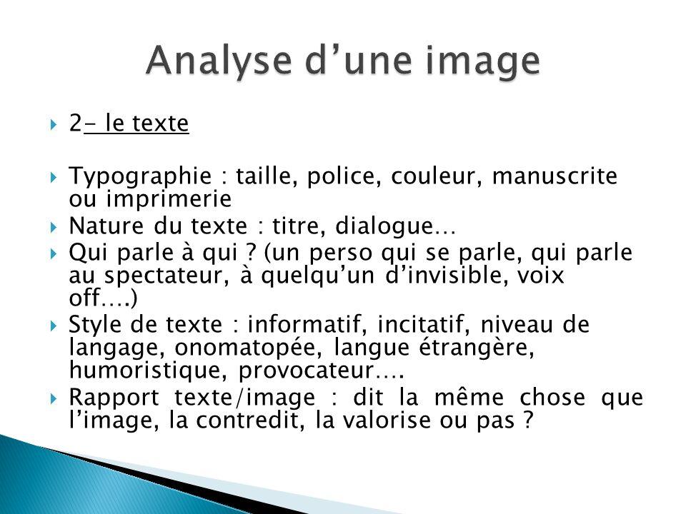 Analyse d'une image 2- le texte