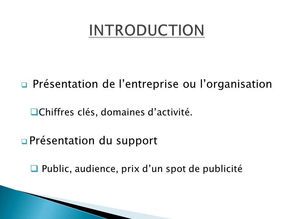INTRODUCTION Présentation de l'entreprise ou l'organisation