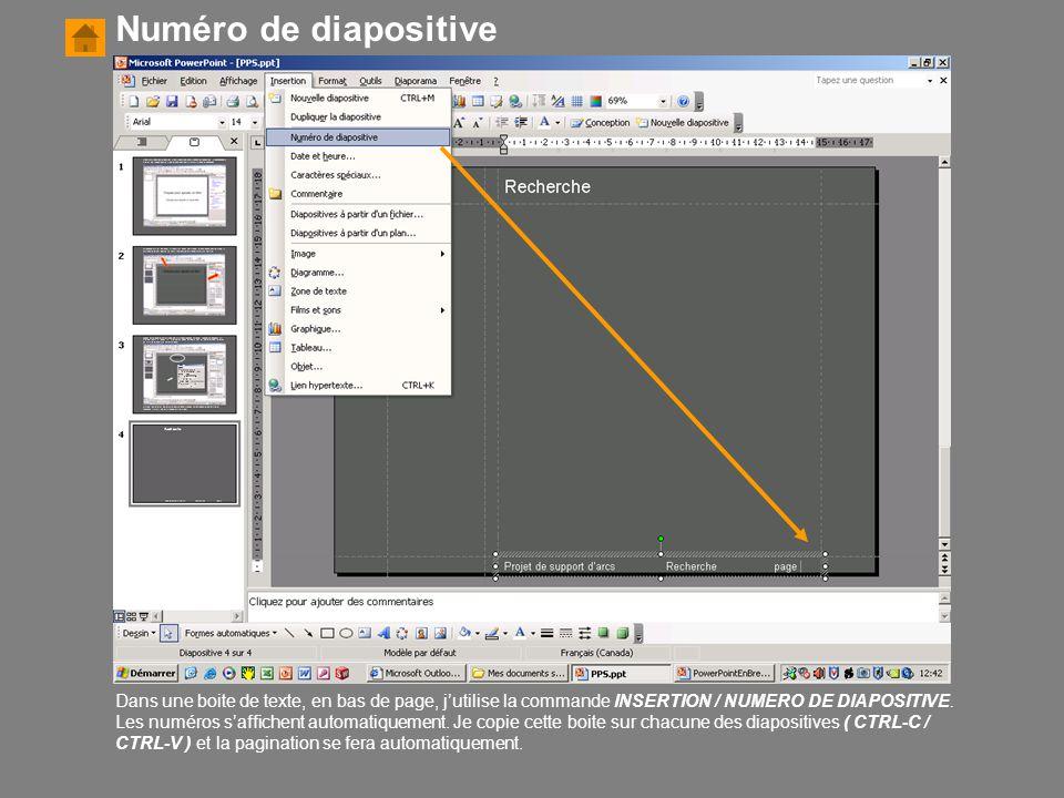 Numéro de diapositive
