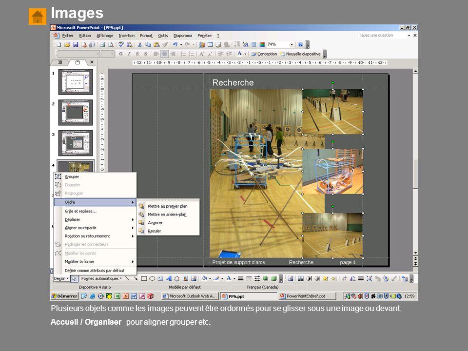 Images Plusieurs objets comme les images peuvent être ordonnés pour se glisser sous une image ou devant.