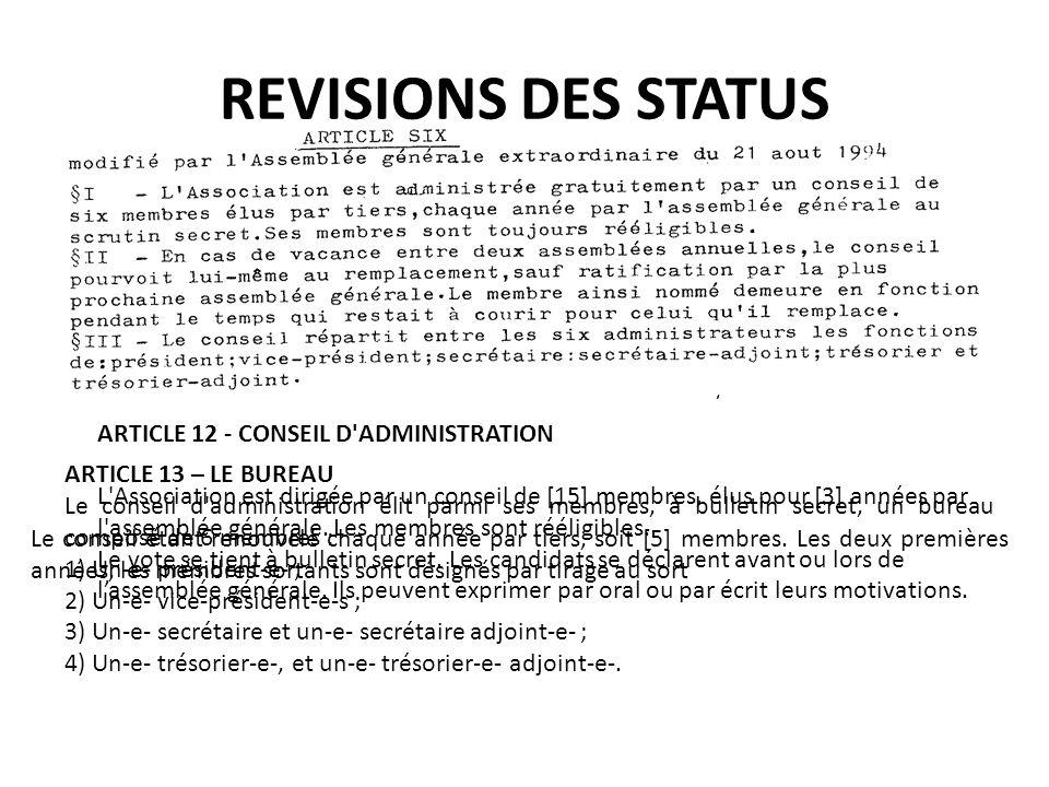 REVISIONS DES STATUS ARTICLE 12 - CONSEIL D ADMINISTRATION