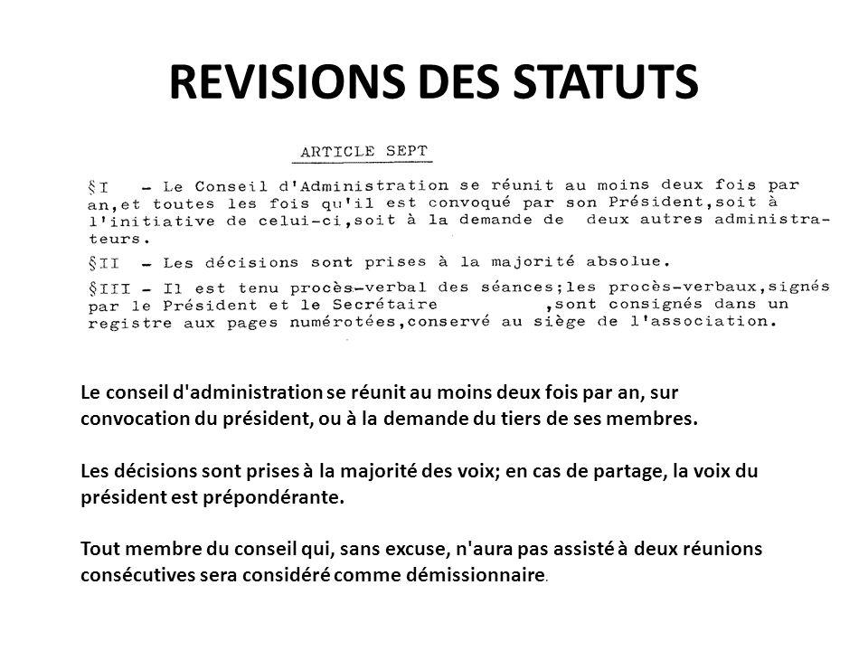 REVISIONS DES STATUTS