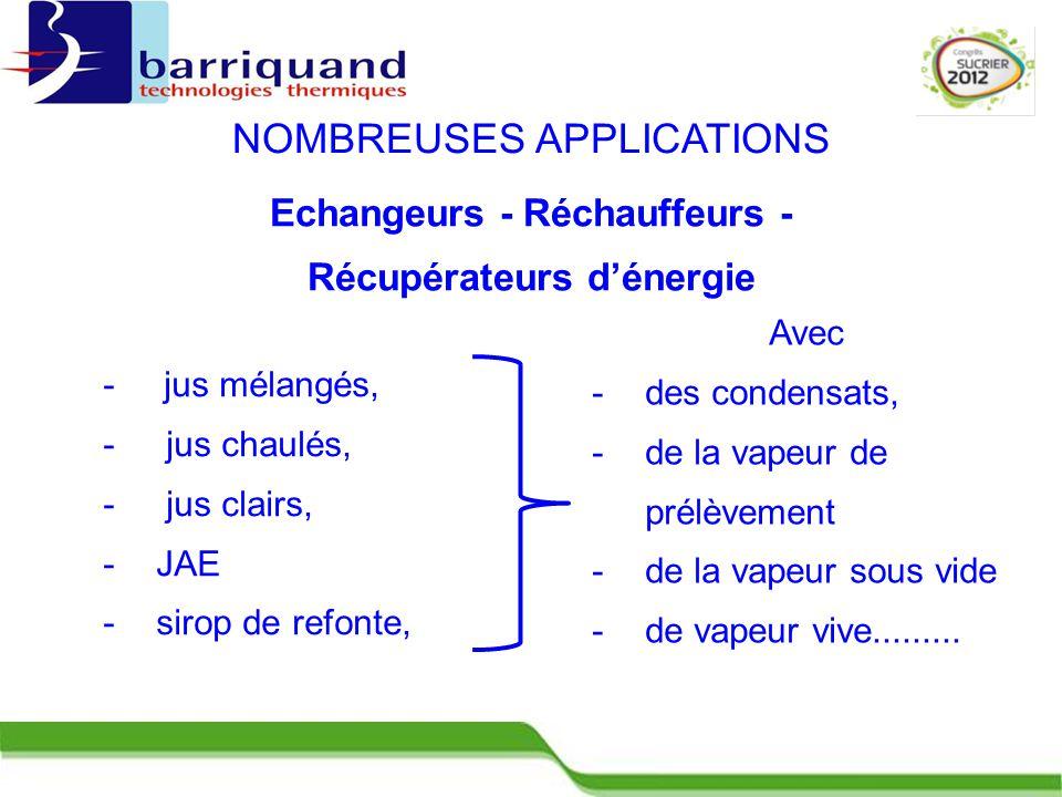 Echangeurs - Réchauffeurs - Récupérateurs d'énergie