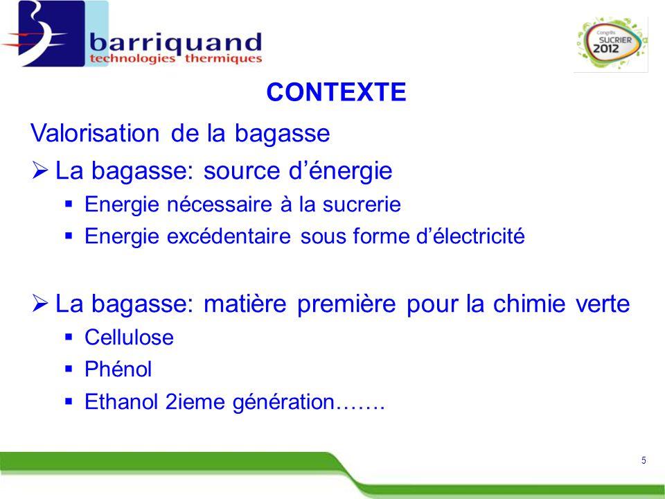 Valorisation de la bagasse La bagasse: source d'énergie