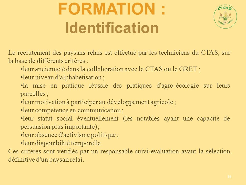 Formation : Identification