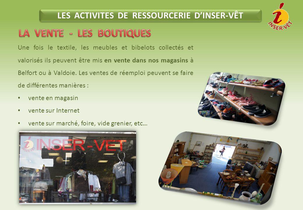 LES ACTIVITES DE RESSOURCERIE D'INSER-VÊT LA VENTE - LES BOUTIQUES