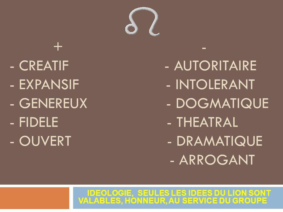 + - - CREATIF - AUTORITAIRE - EXPANSIF - INTOLERANT - GENEREUX - DOGMATIQUE - FIDELE - THEATRAL - OUVERT - DRAMATIQUE - ARROGANT