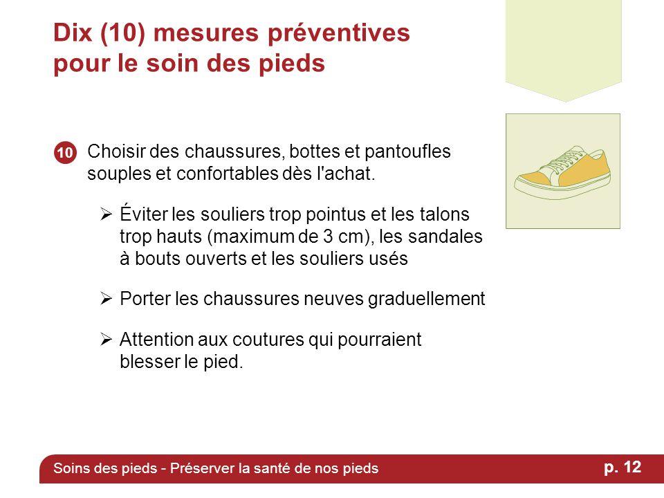 Dix (10) mesures préventives pour le soin des pieds