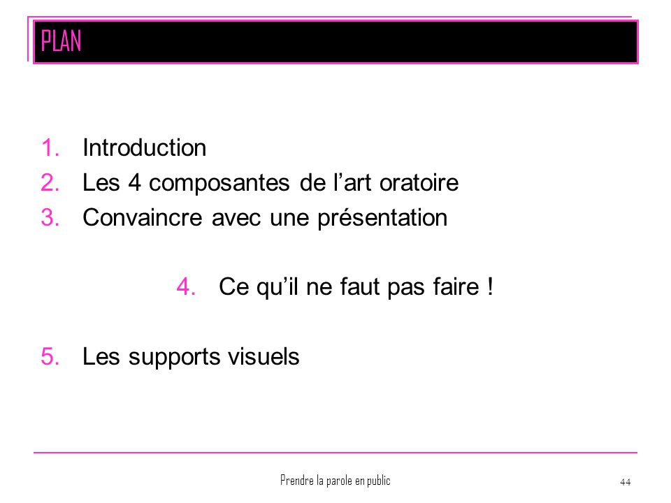 PLAN Introduction Les 4 composantes de l'art oratoire