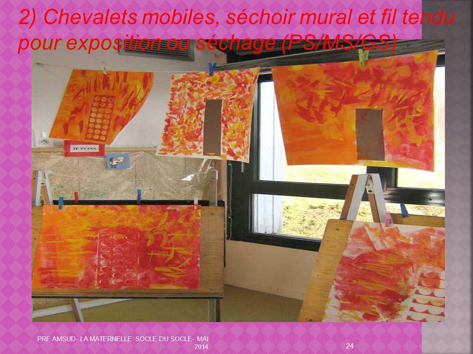 2) Chevalets mobiles, séchoir mural et fil tendu pour exposition ou séchage (PS/MS/GS)