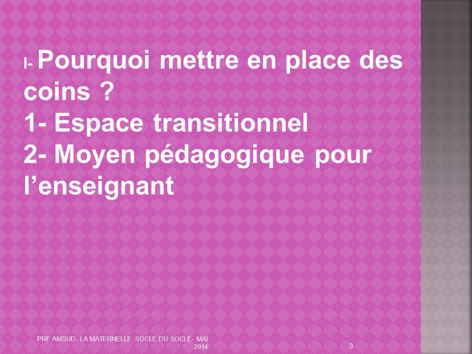 1- Espace transitionnel 2- Moyen pédagogique pour l'enseignant