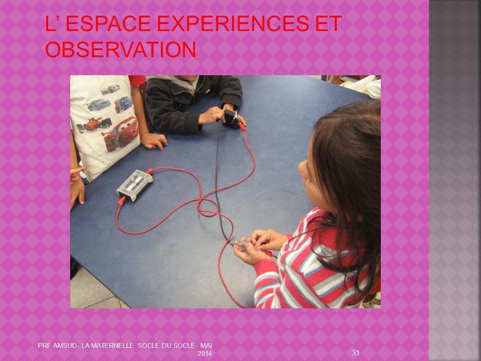 L' ESPACE EXPERIENCES ET OBSERVATION