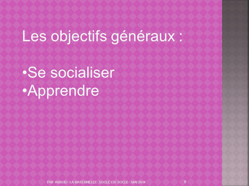 Les objectifs généraux : Se socialiser Apprendre