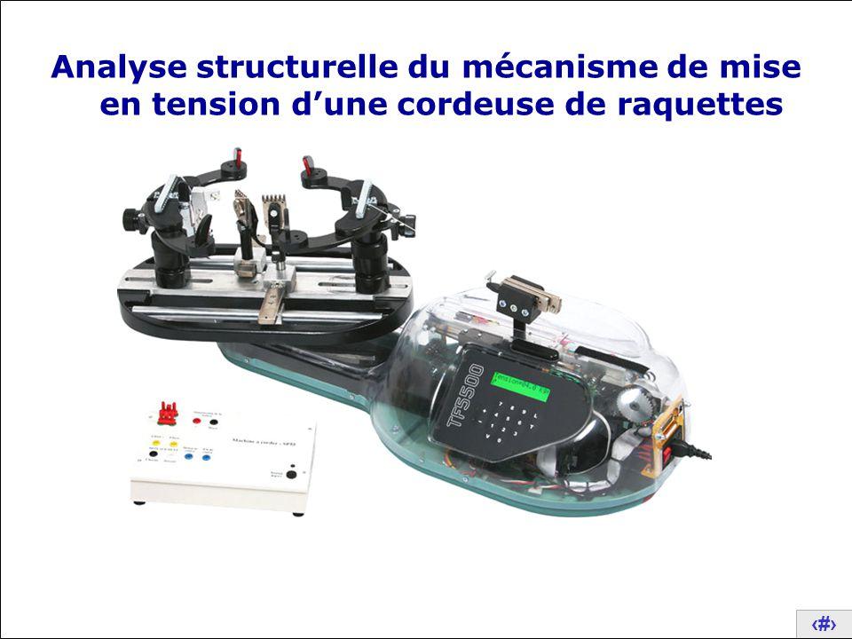 Analyse structurelle du mécanisme de mise en tension d'une cordeuse de raquettes