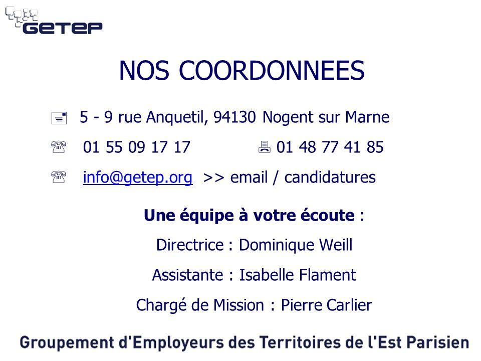 NOS COORDONNEES 5 - 9 rue Anquetil, 94130 Nogent sur Marne