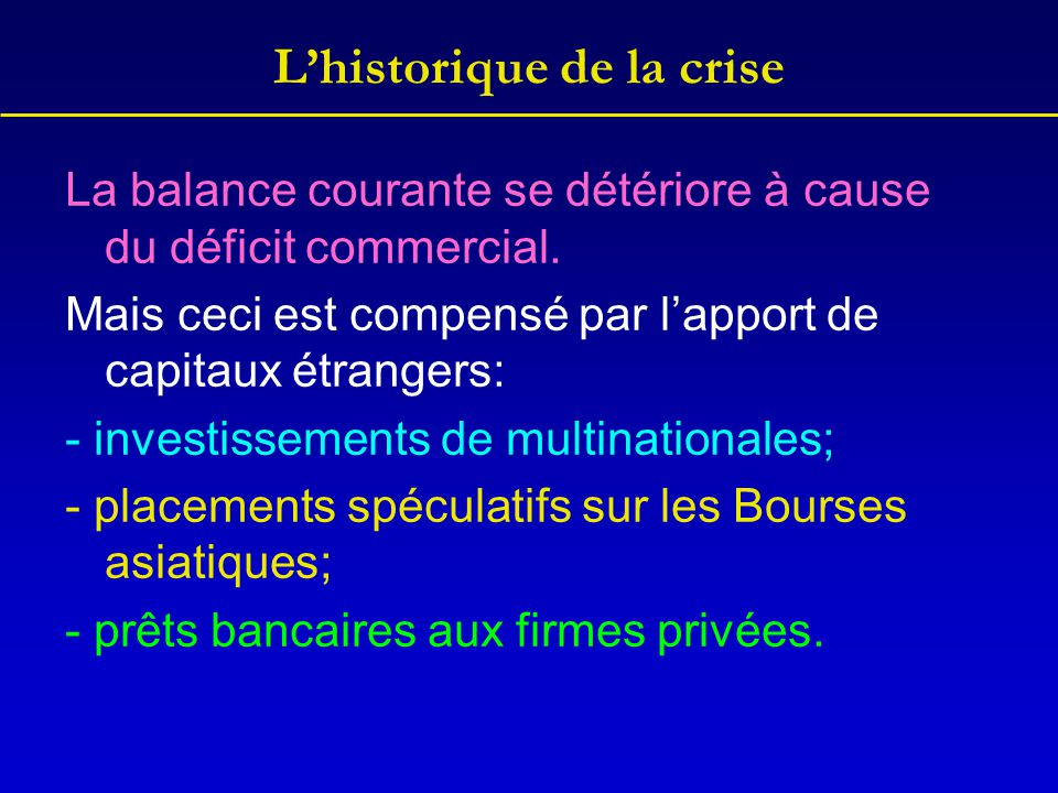 L'historique de la crise