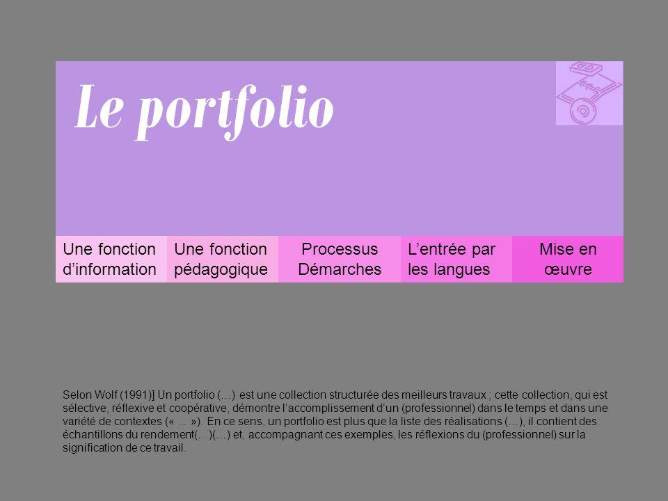 Le portfolio Une fonction d'information Une fonction pédagogique