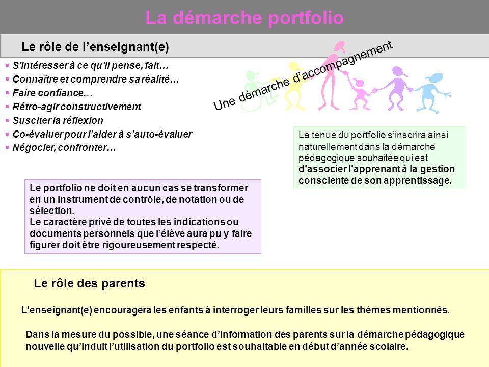 La démarche portfolio Le rôle de l'enseignant(e)