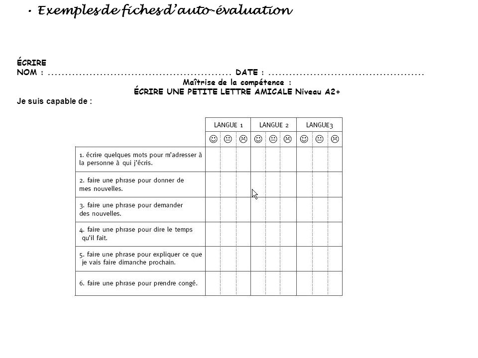 • Exemples de fiches d'auto-évaluation