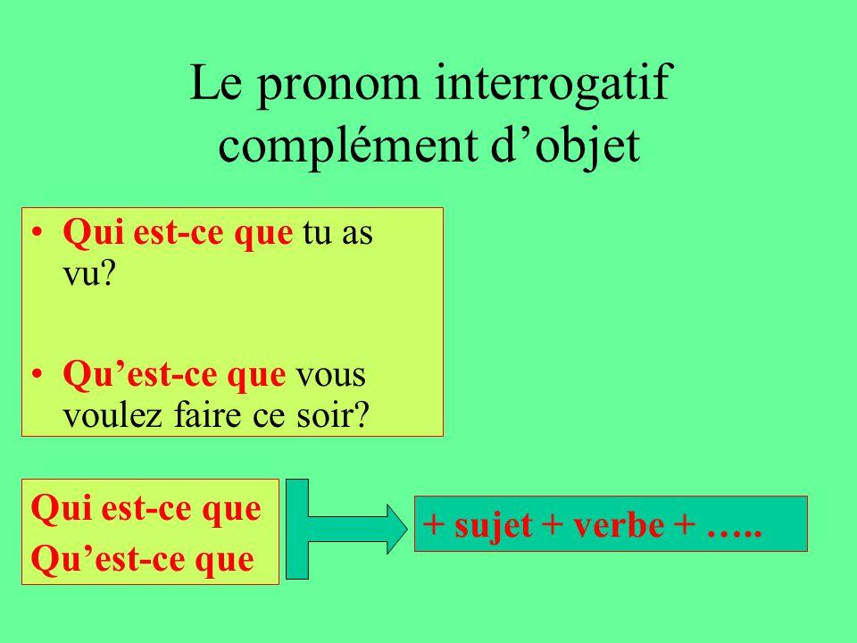Le pronom interrogatif complément d'objet