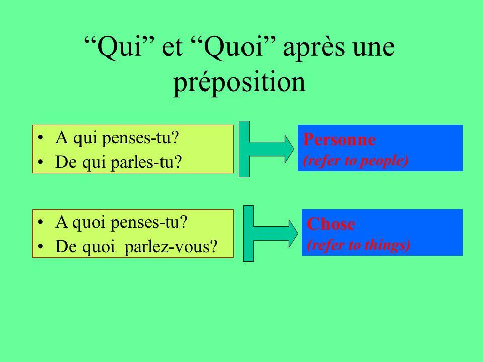 Qui et Quoi après une préposition