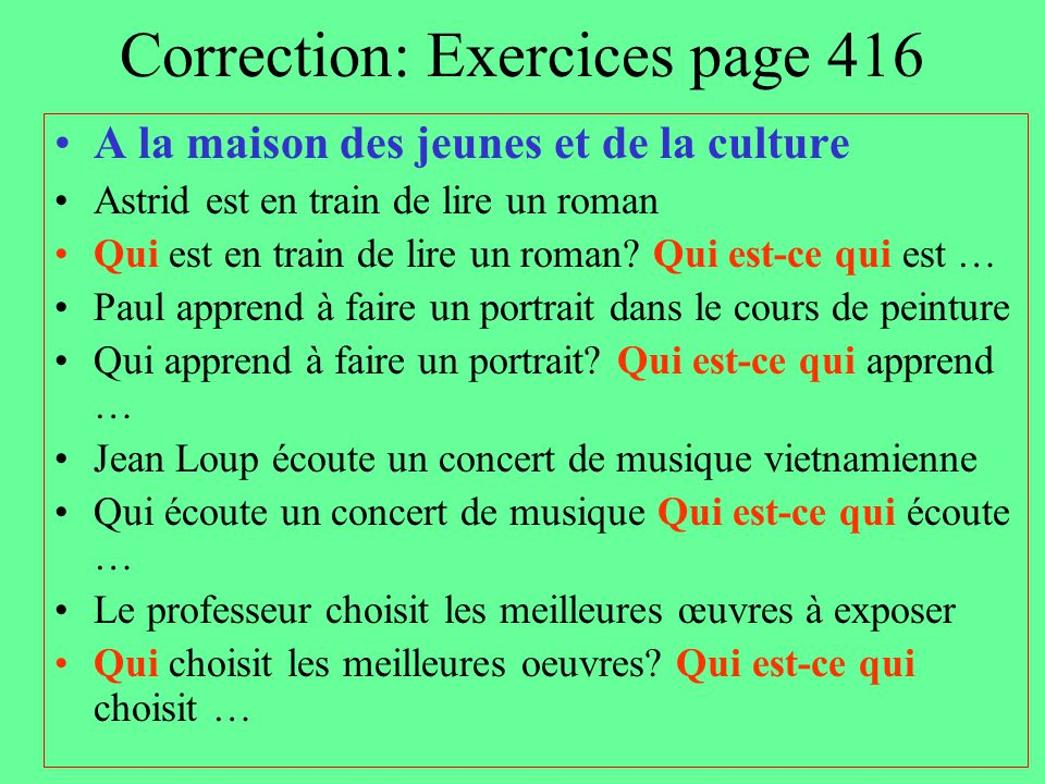 Correction: Exercices page 416