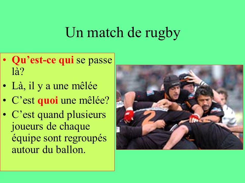 Un match de rugby Qu'est-ce qui se passe là Là, il y a une mêlée