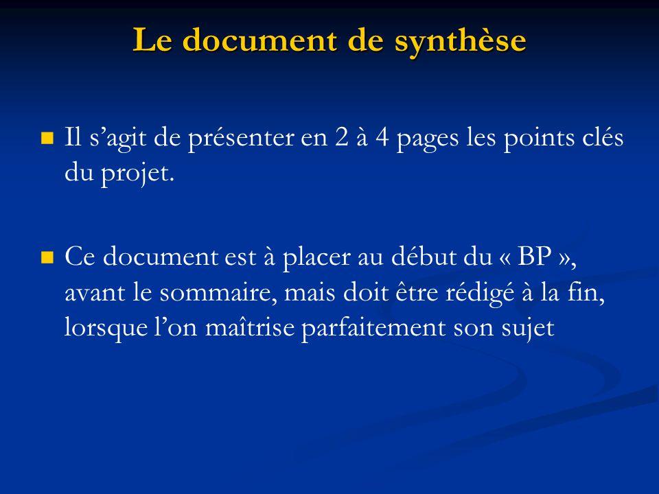Le document de synthèse