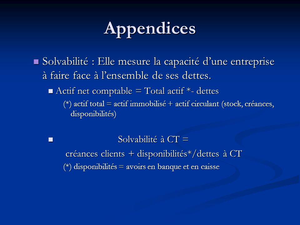 Appendices Solvabilité : Elle mesure la capacité d'une entreprise à faire face à l'ensemble de ses dettes.