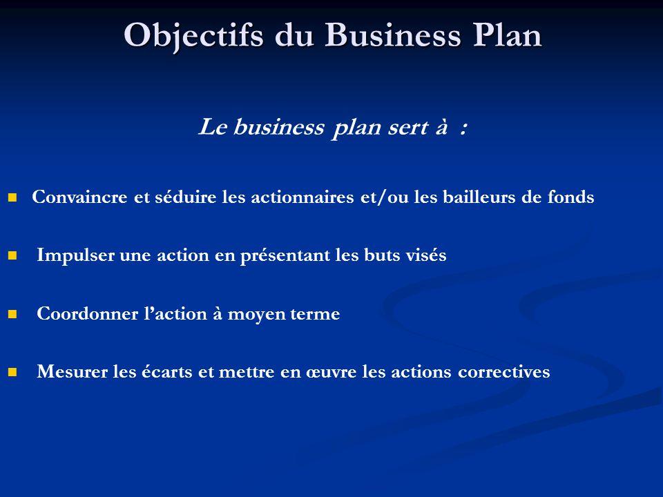 Objectifs du Business Plan Le business plan sert à :