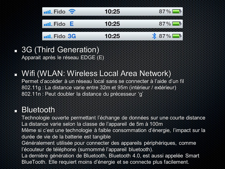 3G (Third Generation) Apparait après le réseau EDGE (E)